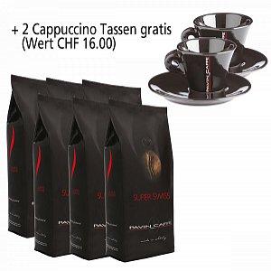Details: 6kg Super Swiss - aroma ricco ed intenso inkl. 2 Cappuccino Tassen schwarz