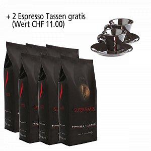 Details: 6kg Super Swiss - aroma ricco ed intenso inkl. 2 Espresso Tassen schwarz