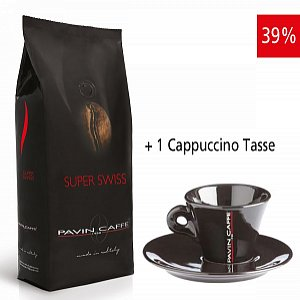 Details: Super Swiss - aroma ricco ed intenso inkl. 1 Cappuccino Tasse schwarz