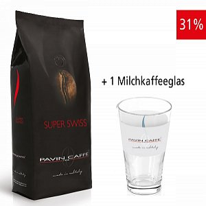 Super Swiss - aroma ricco ed intenso inkl. 1 Milchkaffeeglas