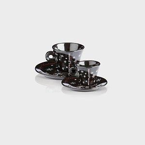 Kaffee Crème / Cappuccino Tasse Classic Christmas schwarz Pavin Caffè